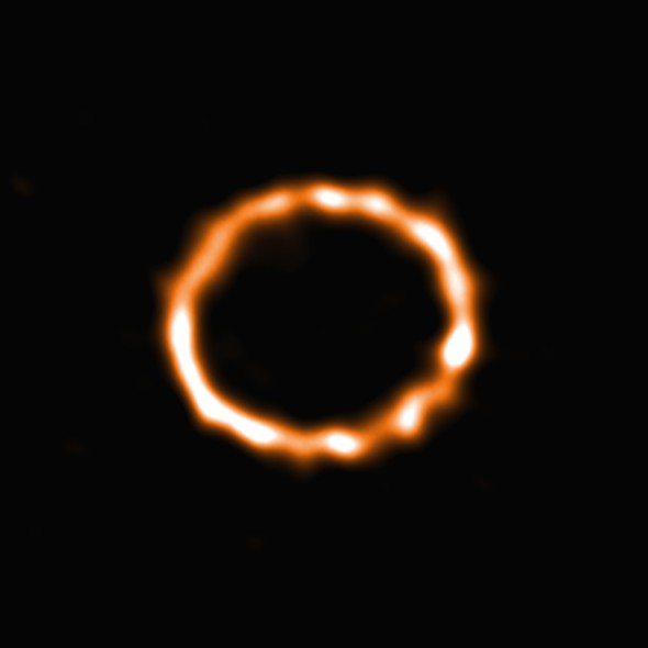 """Using 39 of the 66 antennas of the Atacama Large Millimeter/submillimeter Array (ALMA), located 5000 metres up on the Chajnantor plateau in the Chilean Andes, astronomers have been able to detect carbon monoxide (CO) in the disc of debris around an F-type star. Although carbon monoxide is the second most common molecule in the interstellar medium, after molecular hydrogen, this is the first time that CO has been detected around a star of this type. The star, named HD 181327, is a member of the Beta Pictoris moving group, located almost 170 light-years from Earth. Until now, the presence of CO has been detected only around a few A-type stars,substantiallymore massive and luminous than HD 181327.Using the superb spatial resolution and sensitivity offered by the ALMA observatory astronomers were now able to capture this stunning ring of smoke and map the density of the CO within the disc. The study of debris discs is one way to characterize planetary systems and the results of planet formation. The CO gas is found to be co-located with the dust grains in the ring of debris and to have been produced recently. Destructive collisions of icy planetesimals in the disc are possible sources for the continuous replenishment of the CO gas. Collisions in debris discs typically require the icy bodies to be gravitationally  perturbed by larger objects in order to reach sufficient collisional velocities.Moreover, the derived CO composition of the icy planetesimals in the disc is consistent with the comets in our Solar System. This possible  secondary origin for the CO gas suggests that icy comets could be common around stars similar to our Sun which has strong  implications for life suitability interrestrialexoplanets. The results were published in the journal Monthly Notices of the Royal Astronomical Society under the title """"Exocometary gas in the HD 181327 debris ring"""" by S. Marino et al. Link:  Paper by Marino et al."""